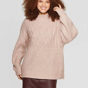 NWOT A New Day Blush Cable Knit Turtleneck Sweater